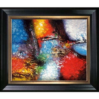 Celito Medeiros 'Abstract I' Hand Painted Framed Canvas Art