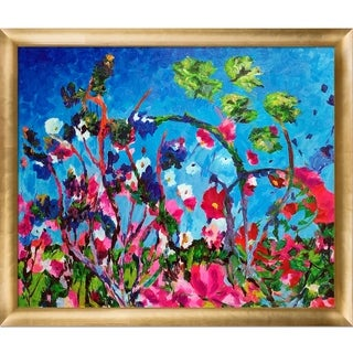 Celito Medeiros 'Bright Meadow' Hand Painted Framed Canvas Art