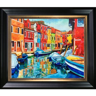 Celito Medeiros 'Colorful Canal' Hand Painted Framed Canvas Art