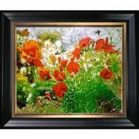 Celito Medeiros 'Floral Meadow' Hand Painted Framed Canvas Art