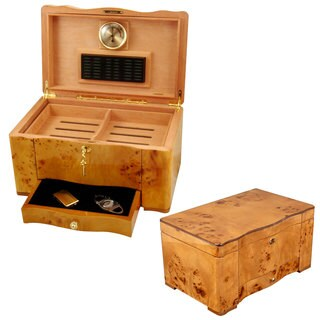 Cuban Crafters Birdseye Maple Burl With Maple Trim 120-Cigar Humidor
