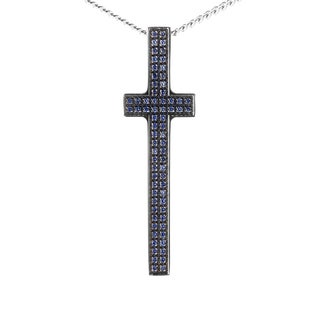 Pianegonda Silver and Sapphire Cross Pendant Necklace
