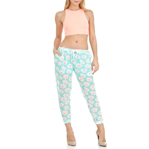 Dinamit Women's Chiffon/Polyester Loose-fit Floral-print Soft Pants