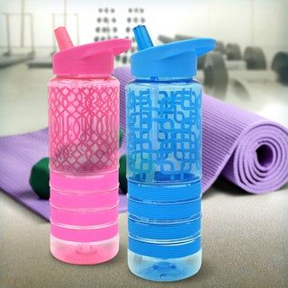 24-ounce Flip-top Water Bottle with Straw (Option: Pink)
