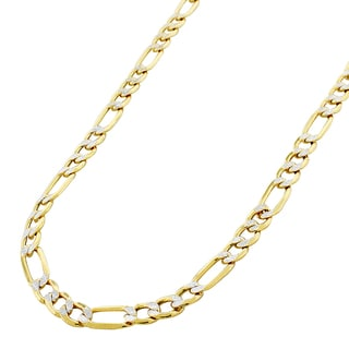 10-carat Gold 6-millimeter Hollow Figaro Diamond Cut Pave Two-tone Chain Necklace