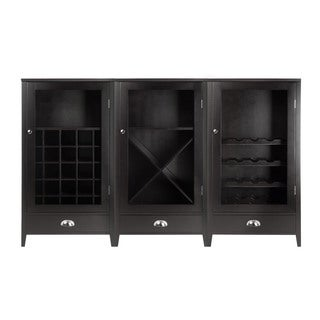 Winsome Bordeaux Espresso Composite Wood with Tempered Glass Doors 3-Piece Modular Wine Cabinet