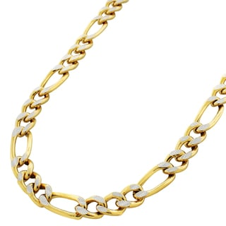 Two-tone 10-karat Gold Diamond-cut Hollow-pave Figaro Chain Necklace