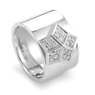 Estate Fred of Paris 18k White Gold Diamond Accent Star Ring