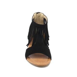 JELLY BEANS DB63 Girl's Back Zipper T-strap Fringe Flat Gladiator Sandals