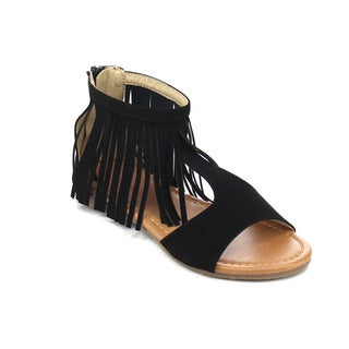 JELLY BEANS DB63 Girl's Back Zipper T-strap Fringe Flat Gladiator Sandals