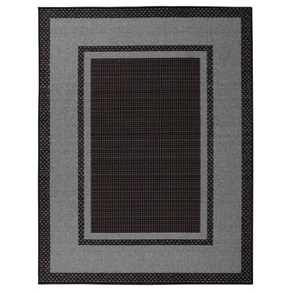 Sweethome Stores Clifton Black/Grey Bordered Design Area Rug (5' x 7') - 5' x 7'