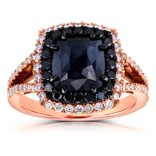 Annello 18k Rose Gold 3 1/3ct TDW Black and White Diamond Split Shank Cushion Double Halo Ring (G-H, I1-I2)