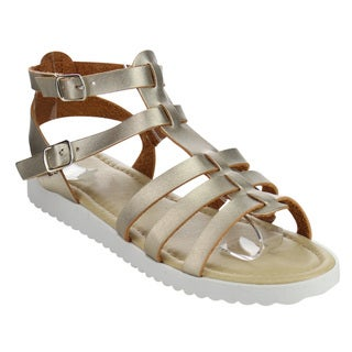 Jelly Beans Girls' Metallic Faux Leather Buckles Flat Gladiator Sandals