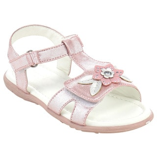Jelly Beans Girls' Pink/Silver Faux-leather T-strap Flower Sandals