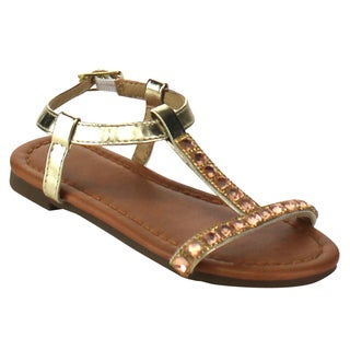Beston Girl's Gold/Silver Faux Leather T-strap Ankle Sandals