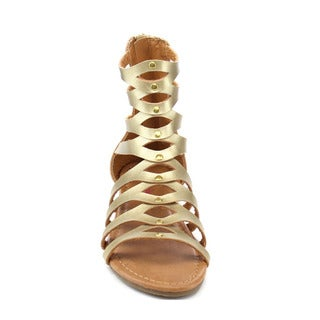 Beston Girls' Faux-leather Studded Gladiator Ankle Sandals