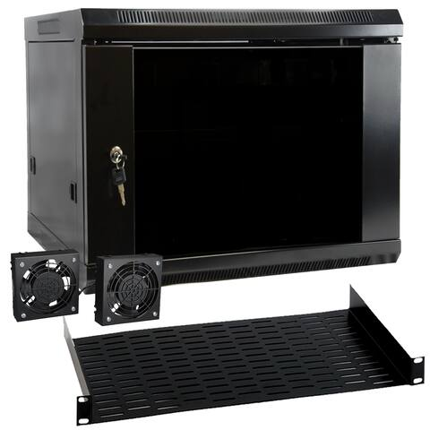 MegaMounts 9U Black Wall Mount Rack Enclosure Server Cabinet