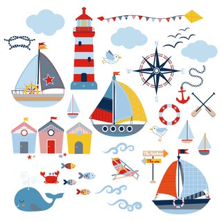 Sail Away Peel & Stick Kids Room/Nursery Wall Decal for Boys & Girls