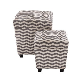 The Funky Wood Fabric Ottomans (Set Of 2)