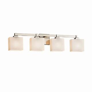 Justice Design Group Fusion Regency 4-light Brushed Nickel Bath Bar, Opal Rectangle Shade