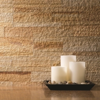 Aspect 6-inch x 24-inch Golden Sandstone Peel and Stick Stone Backsplash