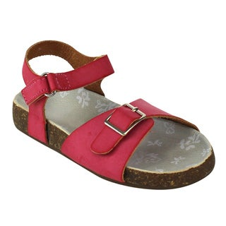 Jelly Beans Girls' White or Fuchsia Faux-leather Flat Ankle Sandals