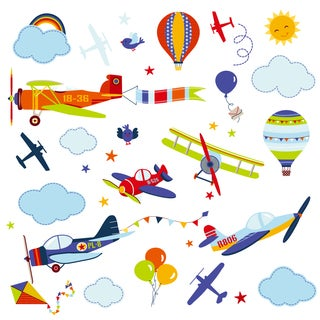 Airplanes Peel & Stick Kids Room/Nursery Wall Decal for Boys & Girls