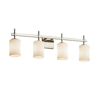 Justice Design Group Fusion Union Cylinder 4-Light Nickel Bath Bar, Opal Glass
