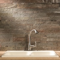 Aspect 6 x 24-inch Tarnished Quartz Peel and Stick Stone Backsplash