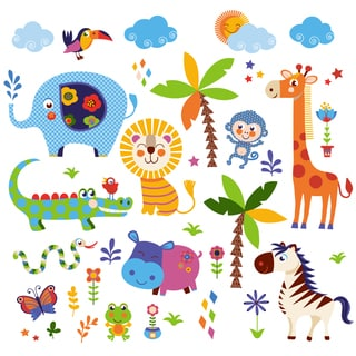 Crazy Jungle Animals Peel & Stick Kids Room/Nursery Wall Decal for Boys & Girls