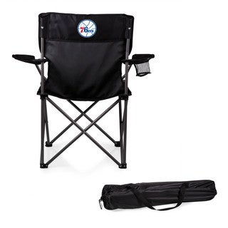 Picnic Time Philadelphia 76ers PTZ Black Polyester and Metal Portable Camp Chair