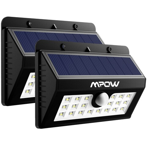 Mpow Solar Power Wireless Security Motion Sensor 20 LED Bulb Light (Pack of 2)