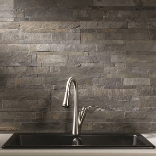 Aspect 6 x 24-inch Iron Slate Peel and Stick Stone Backsplash