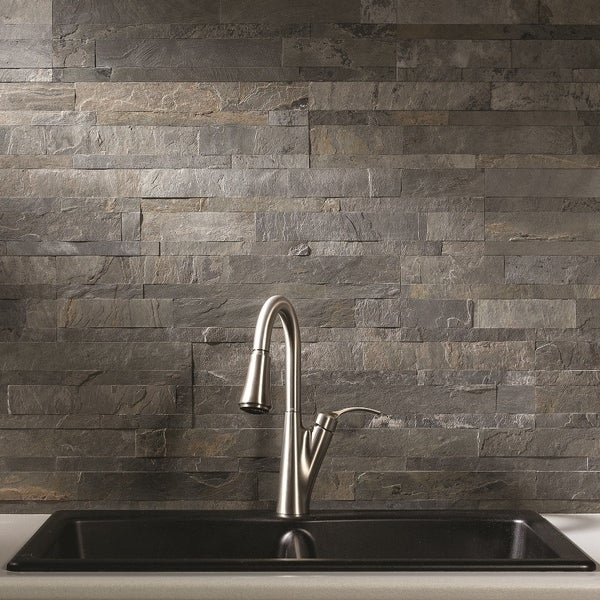 Aspect 6 X 24 Inch Iron Slate L And Stick Stone Backsplash