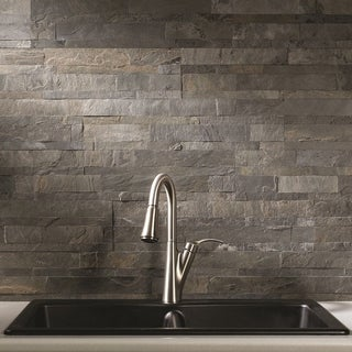 Aspect 5.9 x 23.6-inch Iron Slate Peel and Stick Stone Backsplash