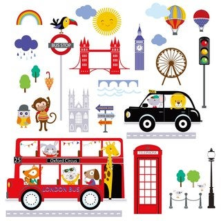 Bus to London Peel & Stick Kids Room/Nursery Wall Decal for Boys & Girls
