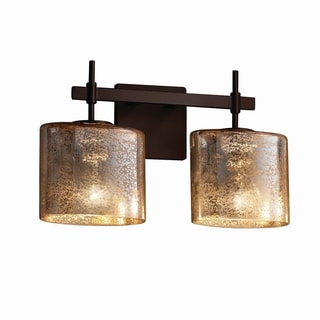 Justice Design Group Fusion Union Oval 2-Light Bronze Bath Bar, Mercury Glass