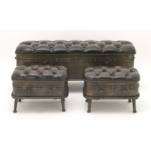 Vintage Dark Brown Iron U0026amp; Leather Cushioned Storage Benches W/ Iron  Feet   Set