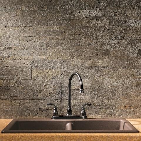 Aspect 6 x 24-inch Mossy Quartz Peel and Stick Stone Backsplash
