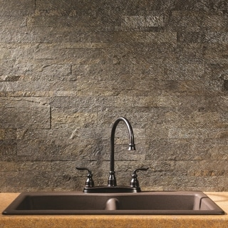 Aspect 6 x 24-inch Mossy Quartz Peel and Stick Stone Backsplash