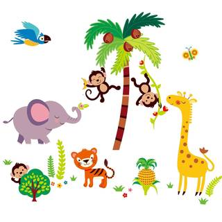 Tumble in the Jungle Giant Monkeys Peel & Stick Kids Room/Nursery Wall Decal for Boys & Girls