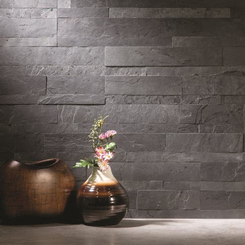 Aspect 6 x 24-inch Charcoal Slate Peel and Stick Stone Backsplash