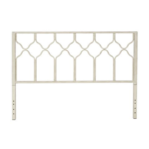 The Curated Nomad Alameda Greek Honeycomb White Metal Headboard