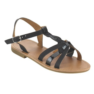 JELLY BEANS Girls' Black/Tan Faux Leather Sling-back Flat Ankle Sandals