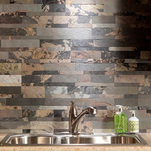 aspect 6 x 24 inch medley slate peel and stick stone backsplash free