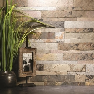 Aspect 6 X 24 Inch Medley Slate Peel And Stick Stone Backsplash