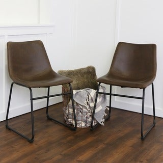 Brown Faux Leather Dining Chairs (Set of 2)