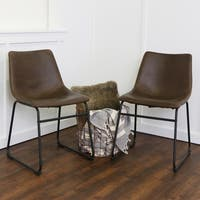 Carbon Loft Prusiner 18-inch Brown Faux Leather Dining Chairs (Set of 2)