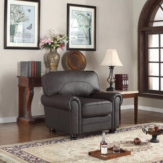 Traditional REAL Leather Upholstered Scroll Armchair (Brown)