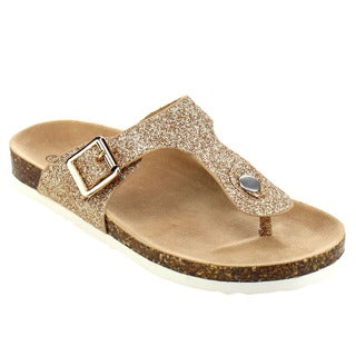 JELLY BEANS Girl's Silver/Gold Faux Leather T-strap Flip Flop Sandals